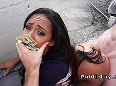 Amazing classy babe fucks in public for cash