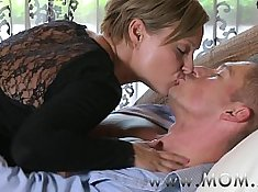 Brunette mature mom CherryPerf gets fucked hard on the couch and sucks cock