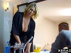 Daughterplay with Son and Mom Slamming Boobs