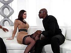 Bigtits super hot MILF in interracial threesome