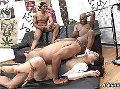 Slutty asian licks his black pussy