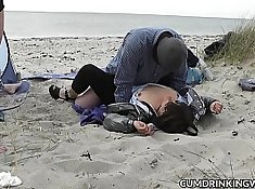Kinky slut fucks on a beach
