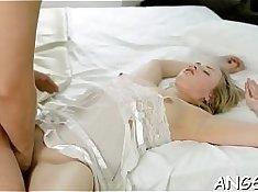 Asian babe ball torching in her ass