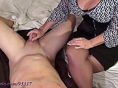 Busty milf milking lots of dicks
