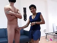blue haired slut rides cock when in front of her husband