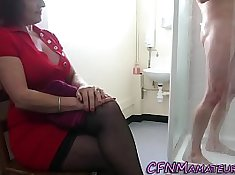 Bigtitted cfnm mature fucks trains maid