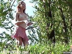 two strangers flashing her panties outdoors