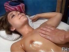 Amateur tutor massaging her tushy after class