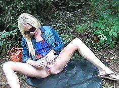 Hot blonde babe with public masturbation