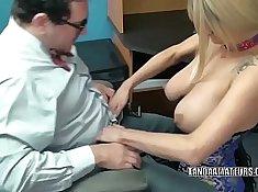 Blonde milf blowjob in porn office